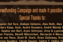 Special Thanks to our Campaign backers!